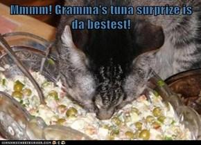 Mmmm! Gramma's tuna surprize is da bestest!