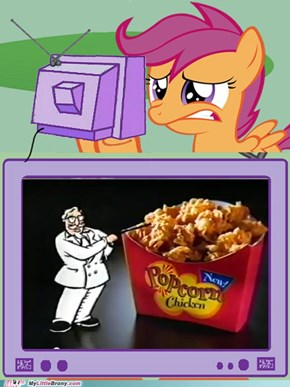 scootaloo Reaction to Kentucky Fried Chicken Pop corn Chicken flavor