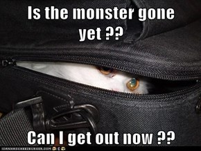 Is the monster gone yet ??  Can I get out now ??