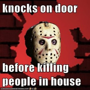 knocks on door  before killing people in house