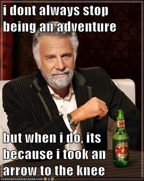 i dont always stop being an adventure  but when i do, its because i took an arrow to the knee