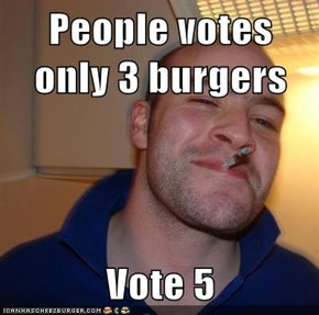 People votes only 3 burgers  Vote 5