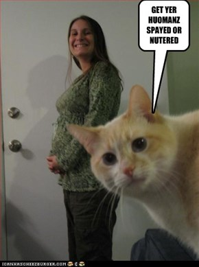 GET YER HUOMANZ SPAYED OR NUTERED