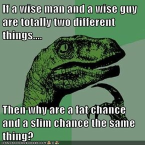 If a wise man and a wise guy are totally two different things....  Then why are a fat chance and a slim chance the same thing?