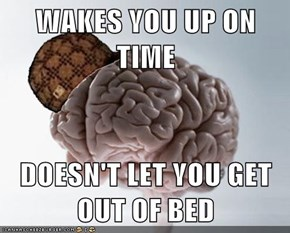 WAKES YOU UP ON TIME  DOESN'T LET YOU GET OUT OF BED