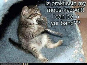 Iz praktissin my mous-kazoo!!!I can be in yur band??
