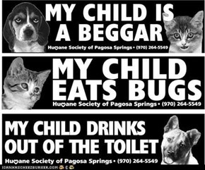 My Child Eats Bugs: Cute Bumper Stickers by the Humane Society of Pagosa Springs, Colo.
