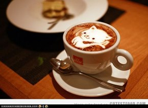 cat art coffee