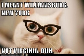 I MEANT WILLIAMSBURG,                   NEW YORK  NOT VIRGINIA. DUH.