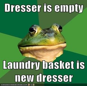 Dresser is empty  Laundry basket is new dresser