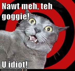 Nawt meh, teh goggie!  U idiot!