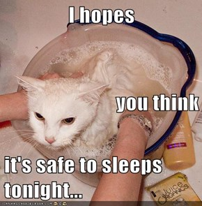 I hopes you think it's safe to sleeps tonight...