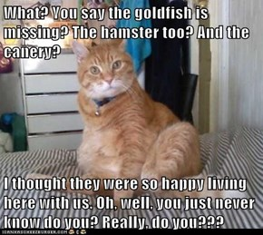 What? You say the goldfish is missing? The hamster too? And the canery?  I thought they were so happy living here with us. Oh, well, you just never know do you? Really, do you???