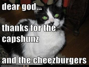 dear god... thanks for the capshunz and the cheezburgers