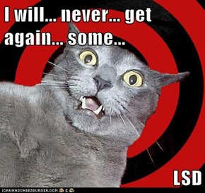 I will... never... get again... some...  LSD