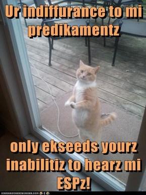 Ur indiffurance to mi predikamentz  only ekseeds yourz inabilitiz to hearz mi ESPz!