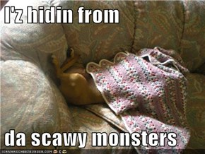 I'z hidin from  da scawy monsters