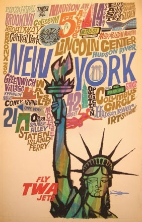 Fly TWA to New York City Vintage Travel Poster