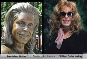 Bewitched Statue Totally Looks Like Willem Dafoe in drag