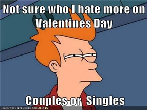 Not sure who I hate more on Valentines Day   Couples or  Singles