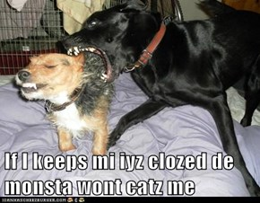 If I keeps mi iyz clozed de monsta wont catz me