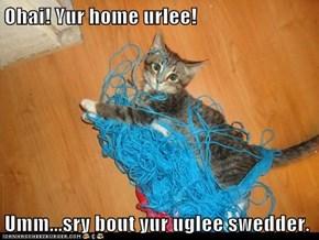Ohai! Yur home urlee!  Umm...sry bout yur uglee swedder.