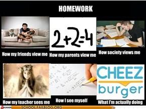I'd Do My Homework, But Those Cats Iz So Funneh!1!