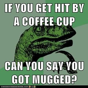 IF YOU GET HIT BY A COFFEE CUP  CAN YOU SAY YOU GOT MUGGED?