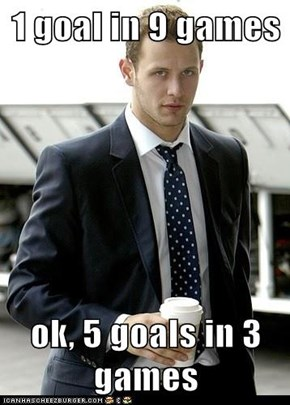 1 goal in 9 games  ok, 5 goals in 3 games