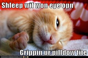 Shleep wif won eye opn  Grippin ur pilldow tite
