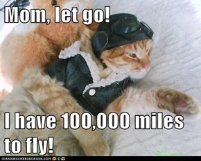 Mom, let go!  I have 100,000 miles to fly!