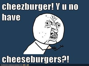 cheezburger! Y u no have  cheeseburgers?!