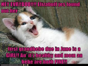 HEY EVRYBODY!! Elizabuff jes found out her  first grandbebe due in June is a GIRL!! An' it'z healthy and mom an bebe are both FINE!!