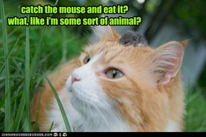 catch the mouse and eat it?what, like i'm some sort of animal?