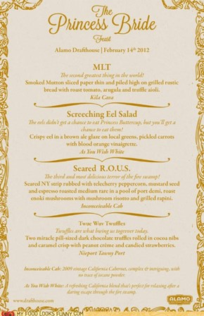 Princess Bride Feast Menu