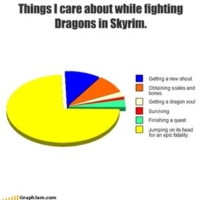Things I care about while fighting Dragons in Skyrim.