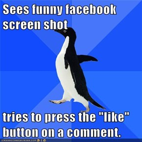 "Sees funny facebook screen shot  tries to press the ""like"" button on a comment."