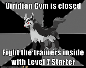 Viridian Gym is closed  Fight the trainers inside with Level 7 Starter