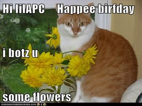 Hi lilAPC     Happee birfday i botz u some flowers