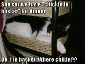 "She sez we have ""chickin in basket"" for dinner  OK. I in basket. Where chikin??"