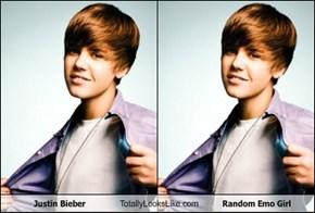 Justin Bieber Totally Looks Like Random Emo Girl