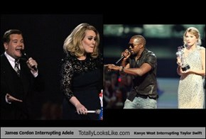 James Cordon Interrupting Adele Totally Looks Like Kanye West Interrupting Taylor Swift