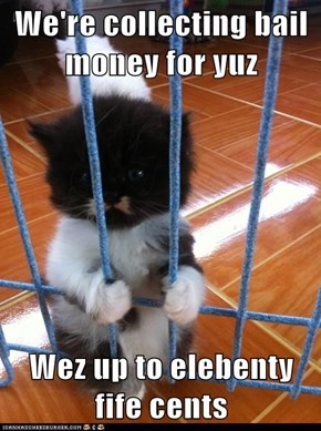 We're collecting bail money for yuz  Wez up to elebenty fife cents