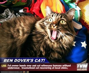 BEN DOVER'S CAT! - Fat owner bends over and cat witnesses humans without underwear.  truamatized cat recovering at local clinic.