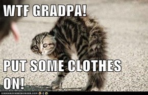 WTF GRADPA!  PUT SOME CLOTHES ON!
