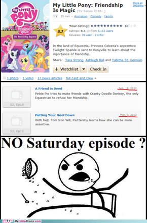 NO saturday episode ?!!