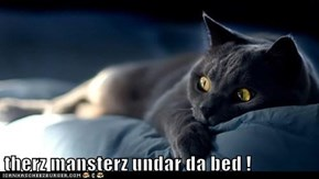 therz mansterz undar da bed !
