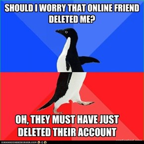 SHOULD I WORRY THAT ONLINE FRIEND DELETED ME?
