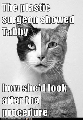 The plastic surgeon showed Tabby  how she'd look after the procedure