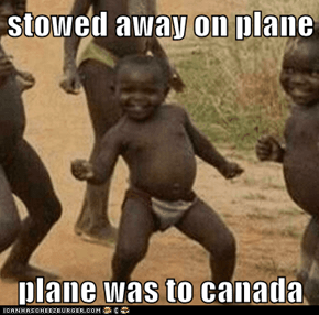 stowed away on plane  plane was to canada
